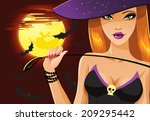cute sexy halloween witch with... | Shutterstock .eps vector #209295442