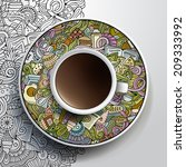 vector illustration with a cup...   Shutterstock .eps vector #209333992