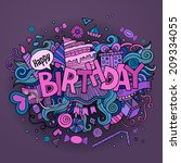birthday hand lettering and... | Shutterstock .eps vector #209334055