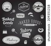 set of vintage bakery badges... | Shutterstock . vector #209351218