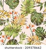 seamless tropical leaves print... | Shutterstock .eps vector #209378662