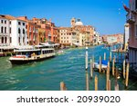 Famous water bus vaporetto o Grand Canal in Venice, Italy - stock photo