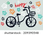 hand drawn vector bicycle with... | Shutterstock .eps vector #209390548