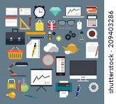 vector flat set of icons for... | Shutterstock .eps vector #209403286
