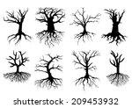 Black Bare Tree Silhouettes...