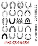 Stock vector metal mascot luck horseshoe symbols set isolated on white background suitable for sport and 209455132