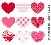 vector hearts set.  | Shutterstock .eps vector #209461186
