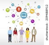 multiethnic group of people... | Shutterstock .eps vector #209488912