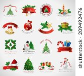 christmas icons set   isolated... | Shutterstock .eps vector #209492476