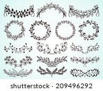 set of dainty black and white... | Shutterstock . vector #209496292