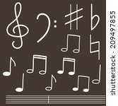 vector set with treble clef and ... | Shutterstock .eps vector #209497855