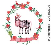 watercolor character zebra with ... | Shutterstock .eps vector #209503108