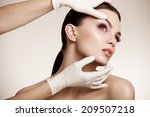 beautiful woman before plastic... | Shutterstock . vector #209507218