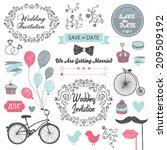 set of vector vintage wedding... | Shutterstock .eps vector #209509192