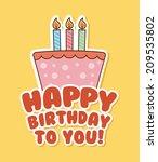 birthday design over cream... | Shutterstock .eps vector #209535802