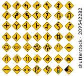 49 vector road sign set yellow  | Shutterstock .eps vector #209542282