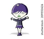 cartoon waving vampire girl | Shutterstock .eps vector #209552626