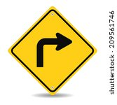 turn right traffic sign on white | Shutterstock .eps vector #209561746
