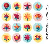 vector set of icons of flowers | Shutterstock .eps vector #209572912