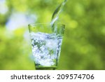 water pouring into glass | Shutterstock . vector #209574706