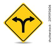 fork in the road sign  vector... | Shutterstock .eps vector #209593606
