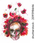 watercolor of the skull and... | Shutterstock . vector #209598646