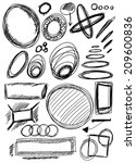 doodle  set hand drawn shapes ... | Shutterstock . vector #209600836