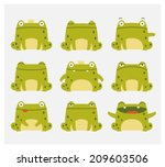 emotional cute frogs. cartoon... | Shutterstock .eps vector #209603506