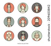 people faces of different ages... | Shutterstock .eps vector #209603842