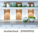 modern white kitchen design.... | Shutterstock . vector #209609032