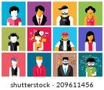 set of stylish avatar of male... | Shutterstock .eps vector #209611456