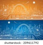 vector train on the bridge ... | Shutterstock .eps vector #209611792