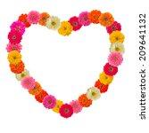 frame heart of zinnias flower... | Shutterstock . vector #209641132