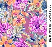 summer flowers seamless pattern | Shutterstock . vector #209656306