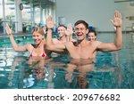 fitness class doing aqua... | Shutterstock . vector #209676682
