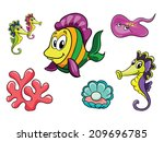 ocean set  vector illustration... | Shutterstock .eps vector #209696785