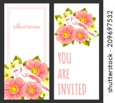 set of invitations with floral... | Shutterstock . vector #209697532