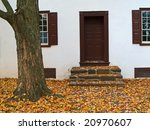 A close-up of the colonial architecture at Washington Crossing State Park in Bucks County, Pennsylvania. - stock photo