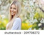 Beautiful Blonde Woman In Spring