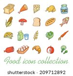 food icons set  vector... | Shutterstock .eps vector #209712892