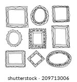set picture frames  hand drawn ... | Shutterstock .eps vector #209713006