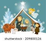 Cartoon Nativity Scene With...
