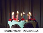 birthday cake happy food flame... | Shutterstock . vector #209828065