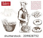 baker prepares bread in a stone ...   Shutterstock .eps vector #209828752