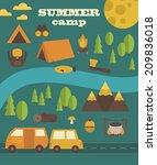 summer camp card design. vector ...   Shutterstock .eps vector #209836018