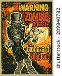 poster zombie outbreak. sign... | Shutterstock .eps vector #209840782