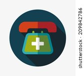emergency call flat icon with...   Shutterstock .eps vector #209842786
