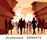 People are going to the new better world., conceptual illustration. - stock vector