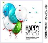 birthday card with balloons and ... | Shutterstock .eps vector #209847682