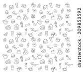 shopping pattern icons set | Shutterstock .eps vector #209853592